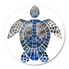 Sea Turtle Peace Round Car Magnet