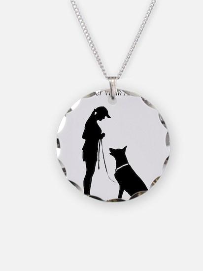 German Shepherd Silhouette Necklace Circle Charm