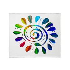rainbow wild spiral Throw Blanket