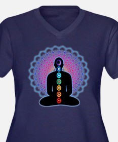 Chakras Women's Plus Size V-Neck Dark T-Shirt