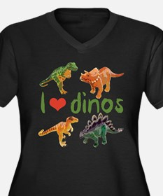 I Love Dinos Women's Plus Size V-Neck Dark T-Shirt