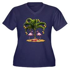 Tropical Hol Women's Plus Size V-Neck Dark T-Shirt