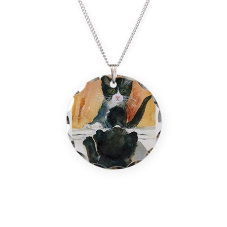 Kitten in the Mirror Necklace Circle Charm