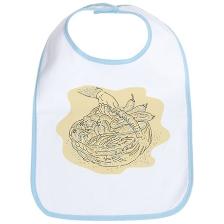 Hand holding vegetable basket harvest Bib