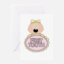Girl Babys First Tooth Greeting Card