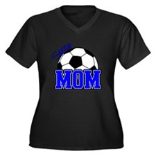 Soccer Mom (Blue) Women's Plus Size V-Neck Dark T-