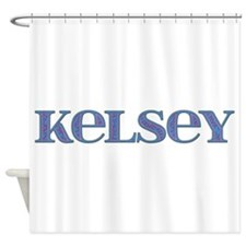 Kelsey Blue Glass Shower Curtain