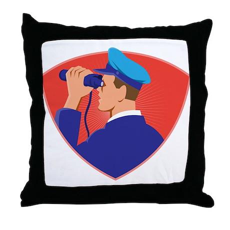 Navy captain with binoculars Throw Pillow