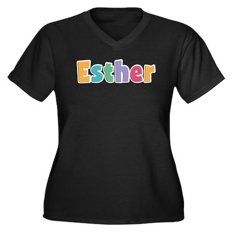 Esther Women's Plus Size V-Neck Dark T-Shirt