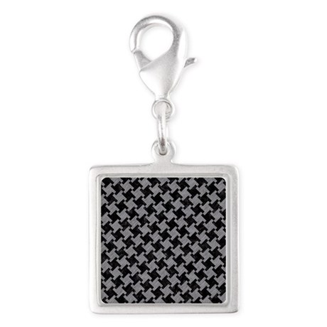 HOUNDSTOOTH2 BLACK MARBLE & G Silver Square Charm
