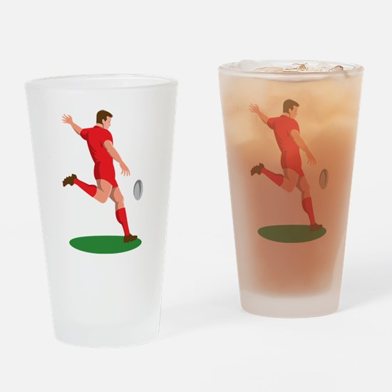 Rugby player kicking ball Drinking Glass