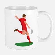 Rugby player kicking ball Mug