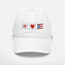 Peace, Love and Puerto Rico Baseball Baseball Cap