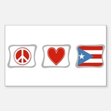 Peace, Love and Puerto Rico Sticker (Rectangle)