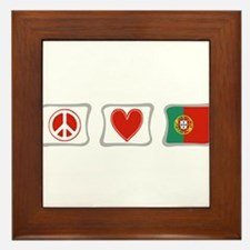 Peace, Love and Portugal Framed Tile