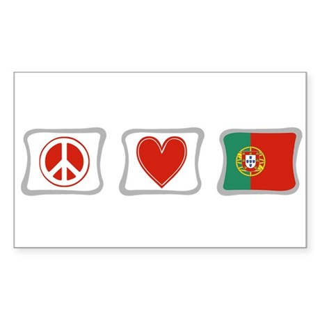 Peace, Love and Portugal Sticker (Rectangle)