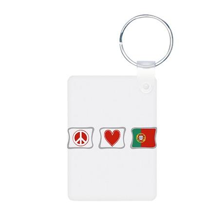 Peace, Love and Portugal Aluminum Photo Keychain
