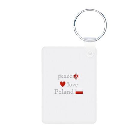 Peace, Love and Poland Aluminum Photo Keychain
