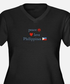 Peace, Love and Philippines Women's Plus Size V-Ne
