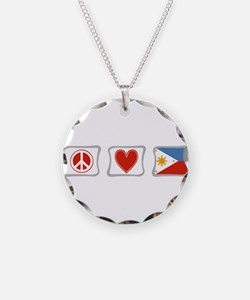 Peace, Love and Philippines Necklace Circle Charm