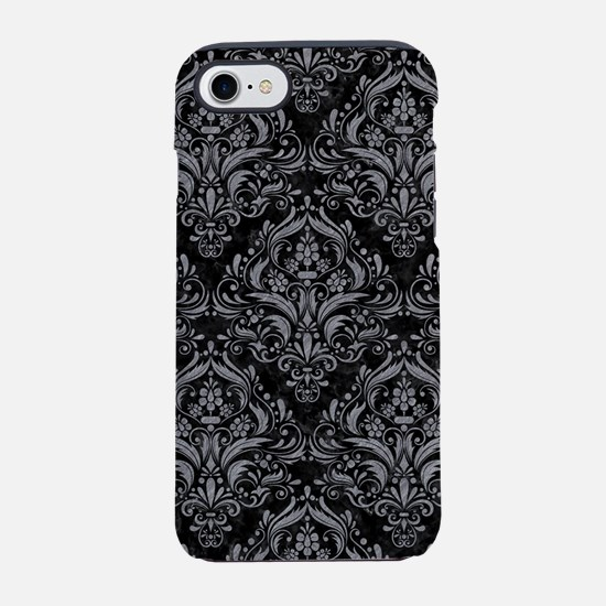 DAMASK1 BLACK MARBLE & GRAY CO iPhone 7 Tough Case