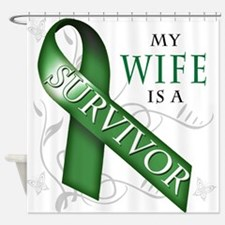My Wife is a Survivor (green).png Shower Curtain