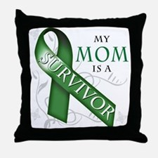 My Mom is a Survivor (green).png Throw Pillow