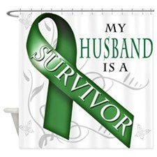 My Husband is a Survivor (green).png Shower Curtai