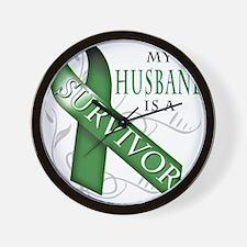 My Husband is a Survivor (green).png Wall Clock