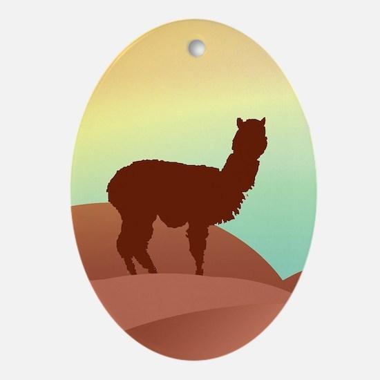 alpaca landscape Oval Ornament