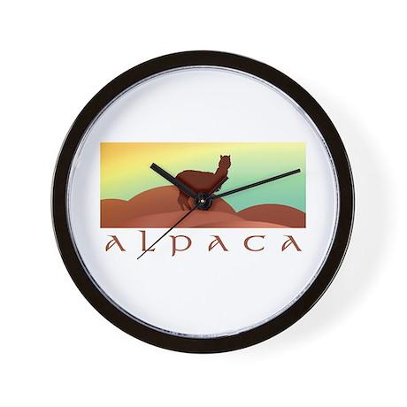 alpaca landscape Wall Clock