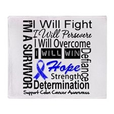 Colon Cancer Persevere Throw Blanket