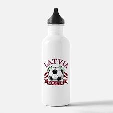Latvia Soccer Designs Water Bottle