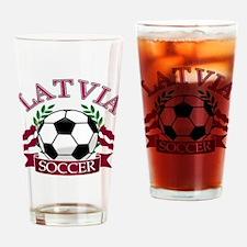 Latvia Soccer Designs Drinking Glass