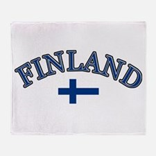 Finland Soccer Designs Throw Blanket