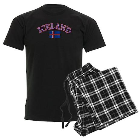 Iceland Soccer Designs Men's Dark Pajamas