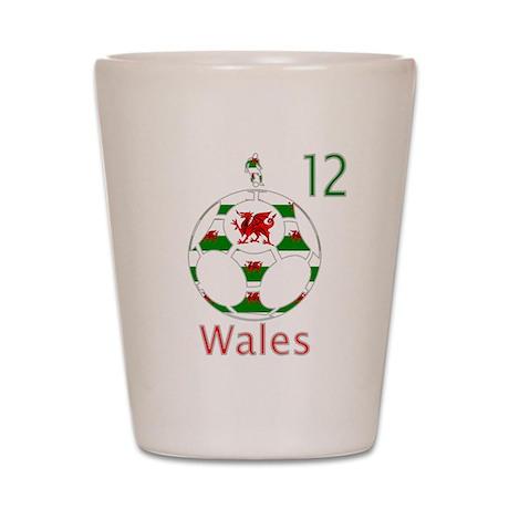 wales dragon football design 12 Shot Glass