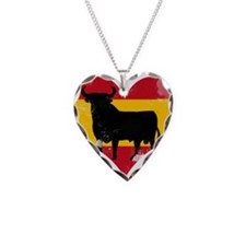 The Spanish Bull, El Toro de España Necklace Heart
