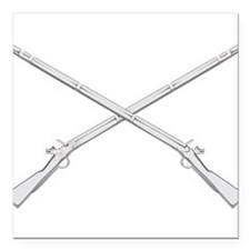 """Crossed Muskets Square Car Magnet 3"""" x 3"""""""