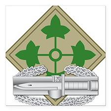 "4th Infantry CAB Square Car Magnet 3"" x 3"""