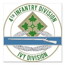 "4th Infantry CIB Square Car Magnet 3"" x 3"""