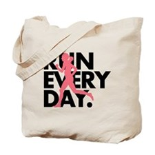 Pink/Black Run Every Day Tote Bag