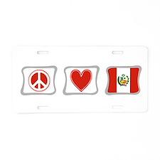 Peace, Love and Peru Aluminum License Plate
