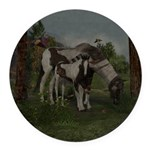 Painted Horse and Foal Round Car Magnet