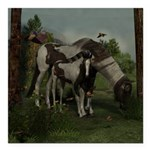 Painted Horse and Foal Square Car Magnet 3