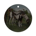 Painted Horse and Foal Ornament (Round)