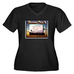 Rosecrans Drive-In Women's Plus Size V-Neck Dark T