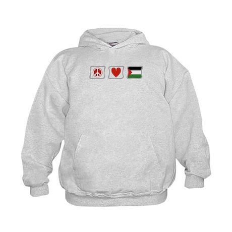 Peace, Love and Palestine Kids Hoodie