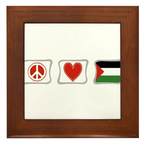Peace, Love and Palestine Framed Tile