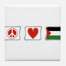 Peace, Love and Palestine Tile Coaster